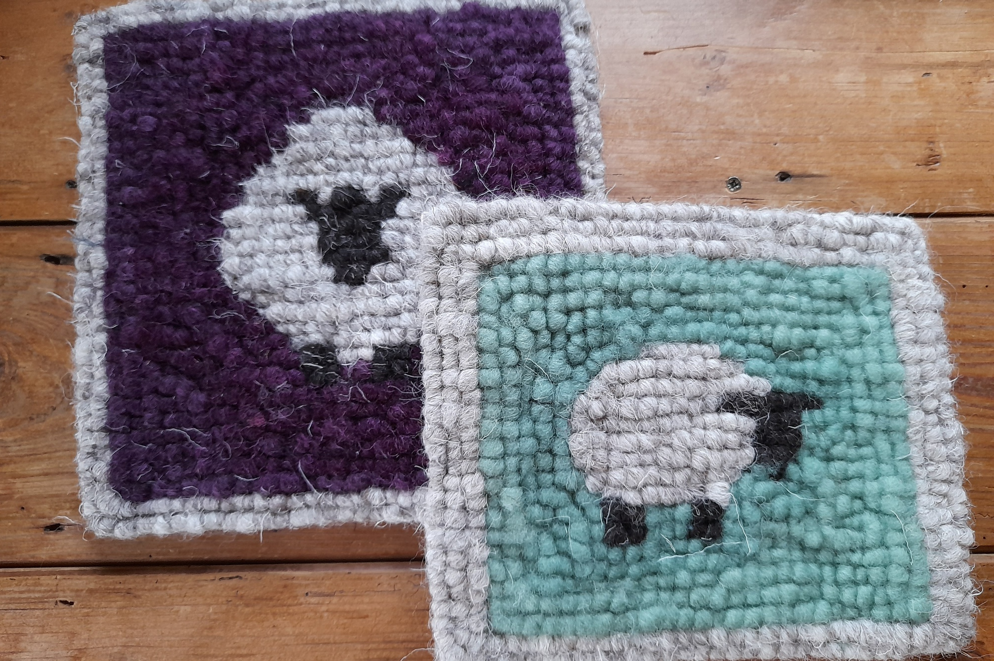 Hooked Sheep Mats - Crafts at Wild Wool Workshop- Lake District Retreats